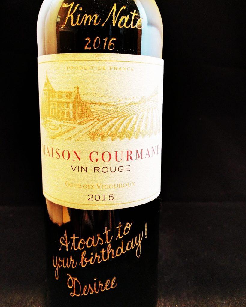 wine bottle engraving