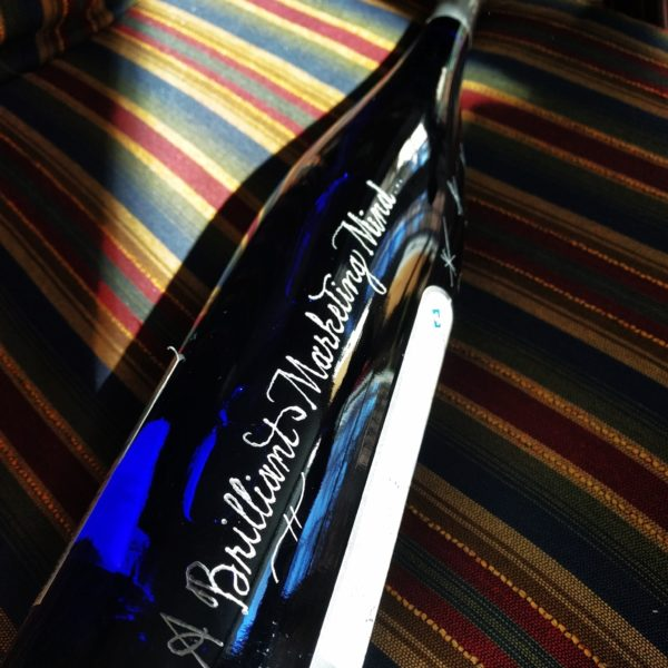 engraved wine bottle