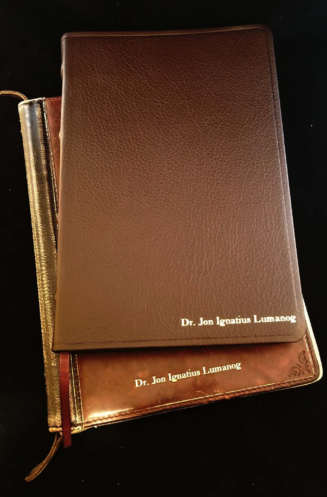 Hot Foil Stamping a Leather iPad Cover and Bible for a Local Clergyman