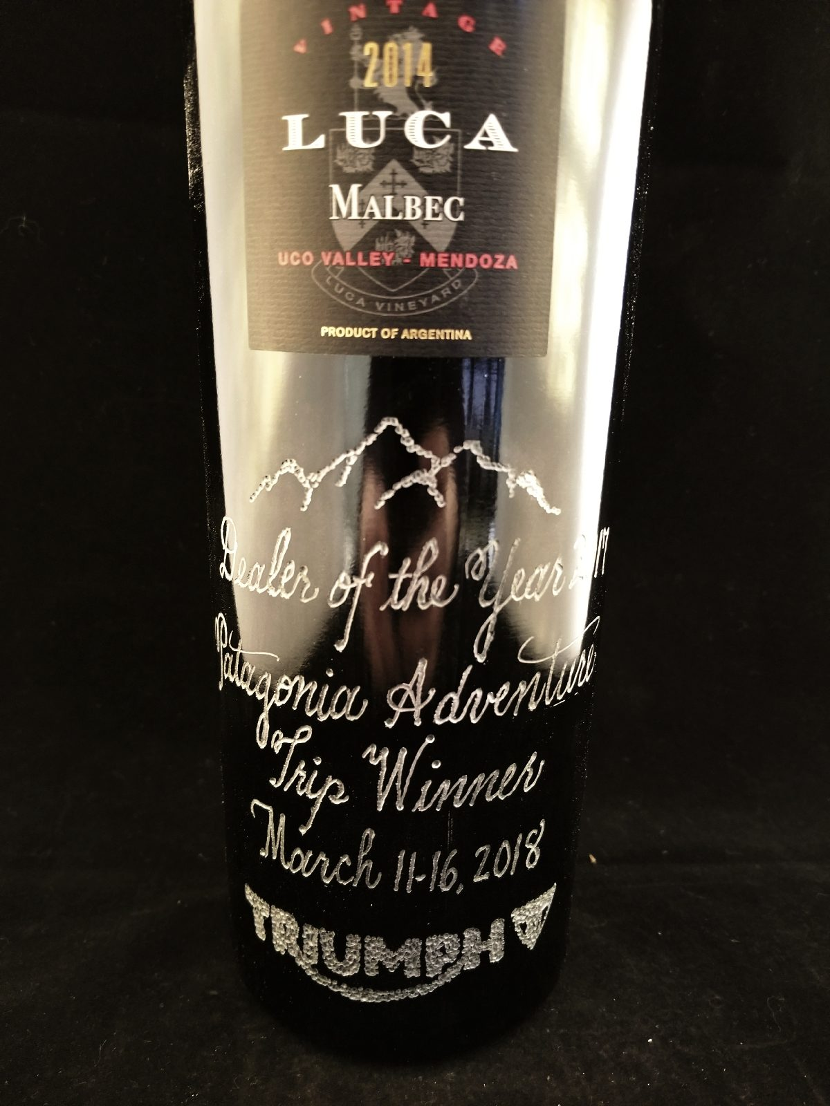 Hand Engraved Wine Bottles for Triumph Motorcycles USA Dealers