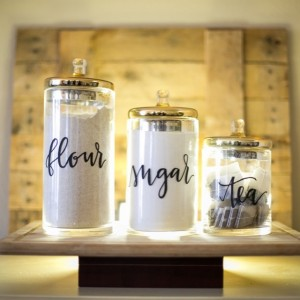 calligraphy home decor canisters