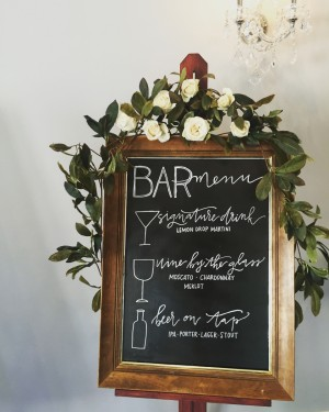 wedding calligraphy bar sign